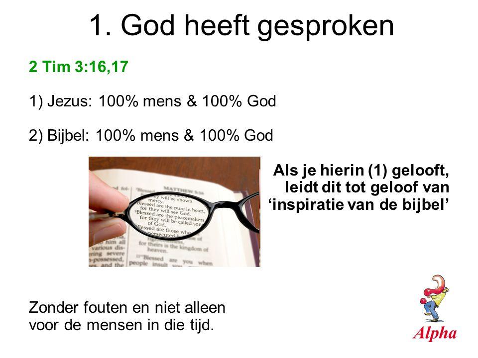 1. God heeft gesproken 2 Tim 3:16,17 1) Jezus: 100% mens & 100% God