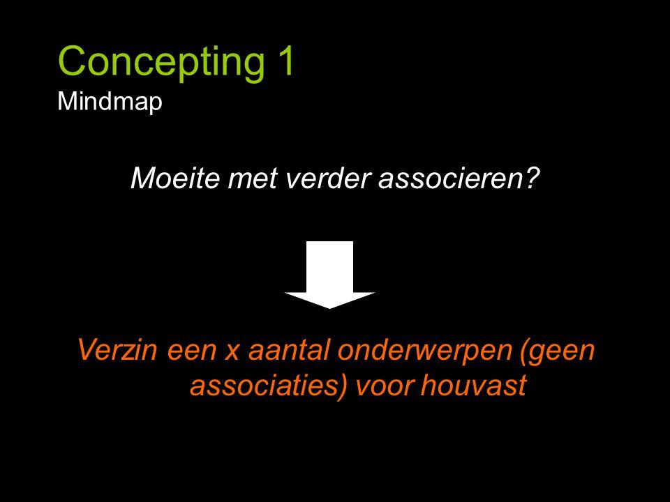 Concepting 1 Mindmap Moeite met verder associeren