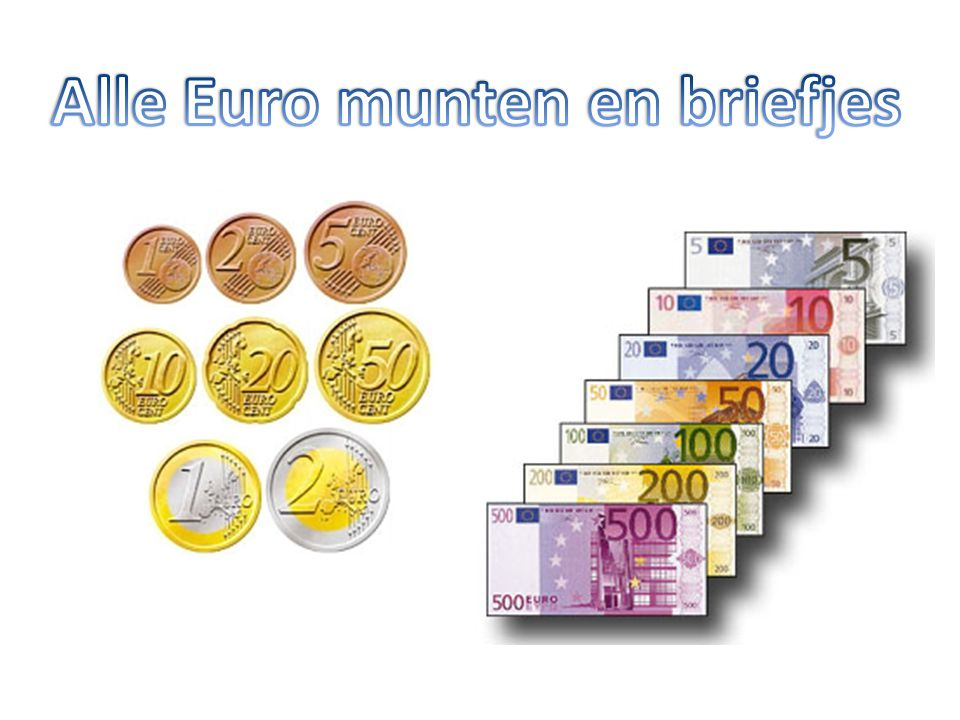 Alle Euro munten en briefjes