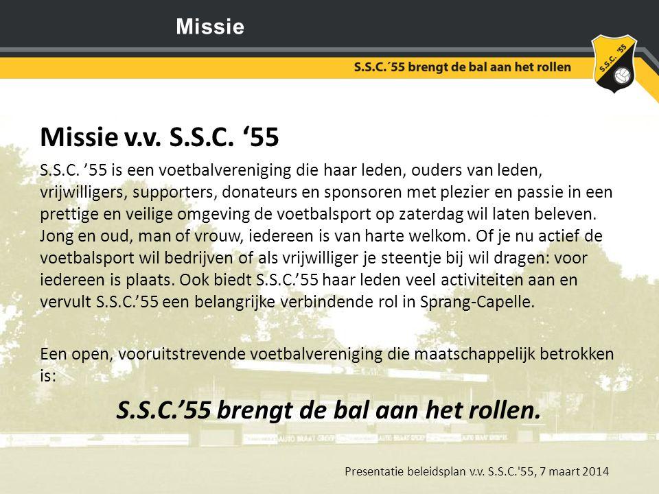 S.S.C.'55 brengt de bal aan het rollen.
