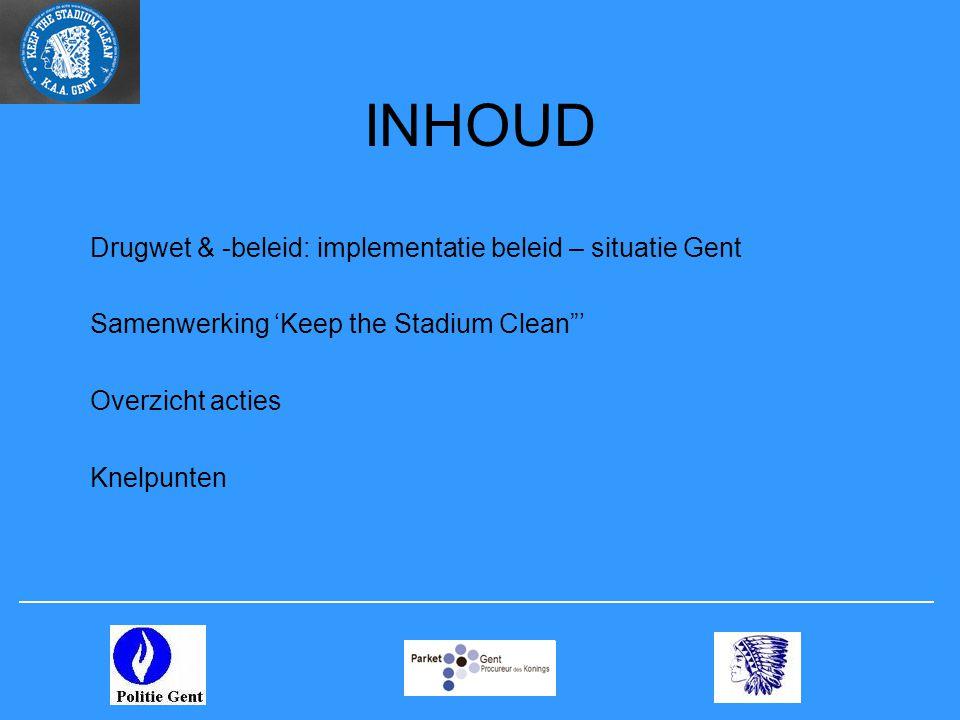 INHOUD Drugwet & -beleid: implementatie beleid – situatie Gent