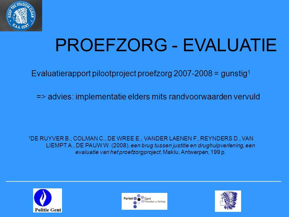 PROEFZORG - EVALUATIE Evaluatierapport pilootproject proefzorg 2007-2008 = gunstig1. => advies: implementatie elders mits randvoorwaarden vervuld.