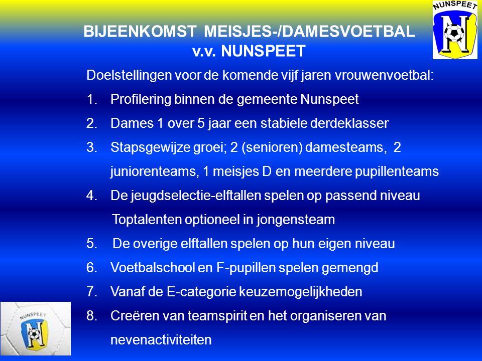 BIJEENKOMST MEISJES-/DAMESVOETBAL v.v. NUNSPEET