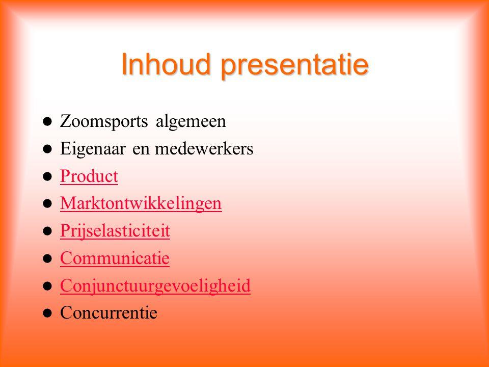 Inhoud presentatie Zoomsports algemeen Eigenaar en medewerkers Product