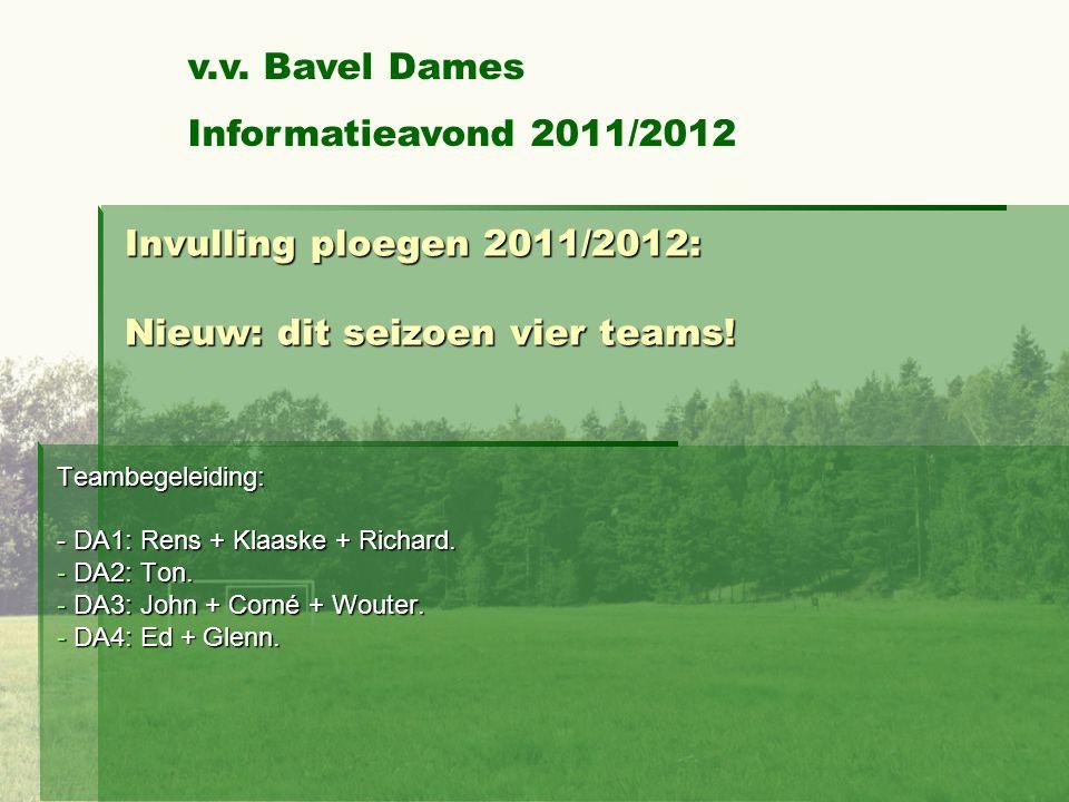 Invulling ploegen 2011/2012: Nieuw: dit seizoen vier teams!