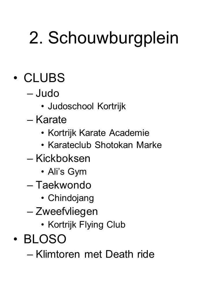2. Schouwburgplein CLUBS BLOSO Judo Karate Kickboksen Taekwondo