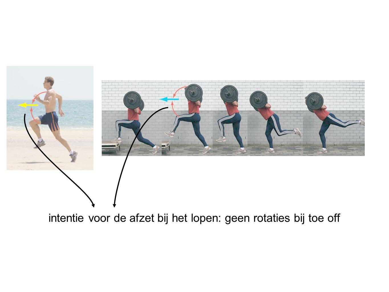 intentie voor de afzet bij het lopen: geen rotaties bij toe off
