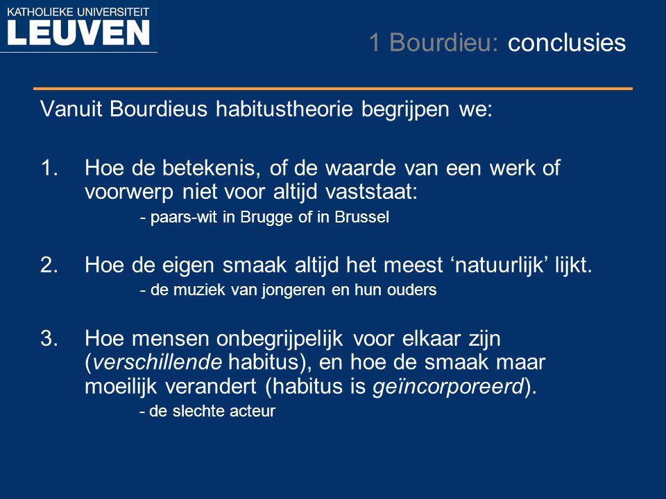 1 Bourdieu: conclusies Vanuit Bourdieus habitustheorie begrijpen we: