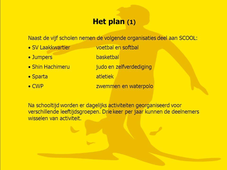 Het plan (1) Naast de vijf scholen nemen de volgende organisaties deel aan SCOOL: SV Laakkwartier voetbal en softbal.