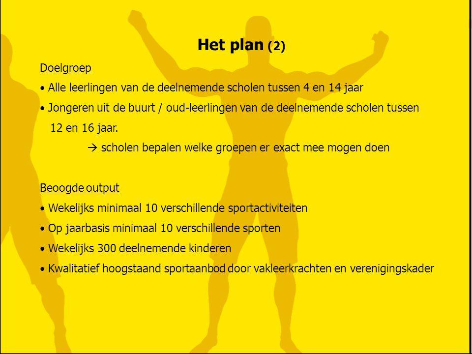 Het plan (2) Doelgroep. Alle leerlingen van de deelnemende scholen tussen 4 en 14 jaar.