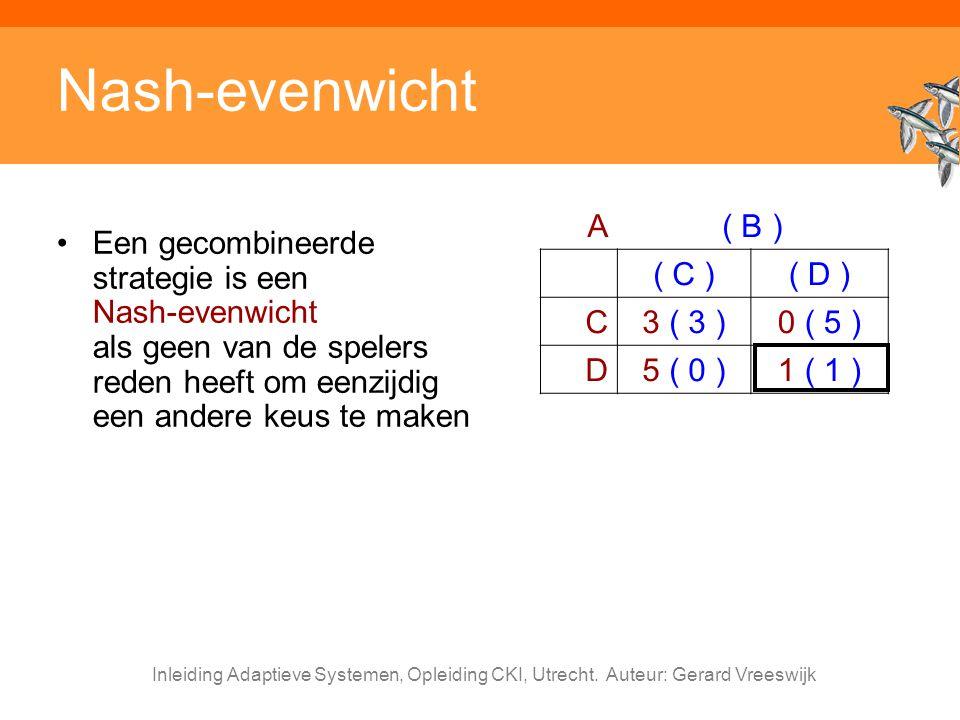 Nash-evenwicht A ( B ) ( C ) ( D ) C 3 ( 3 ) 0 ( 5 ) D 5 ( 0 ) 1 ( 1 )