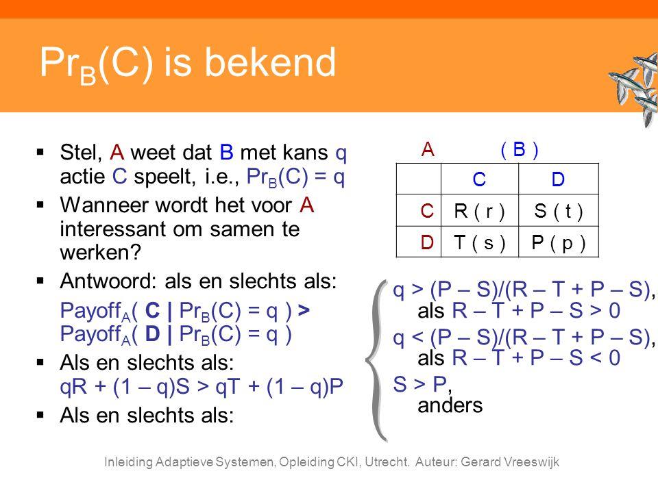 PrB(C) is bekend A. ( B ) C. D. R ( r ) S ( t ) T ( s ) P ( p ) Stel, A weet dat B met kans q actie C speelt, i.e., PrB(C) = q.