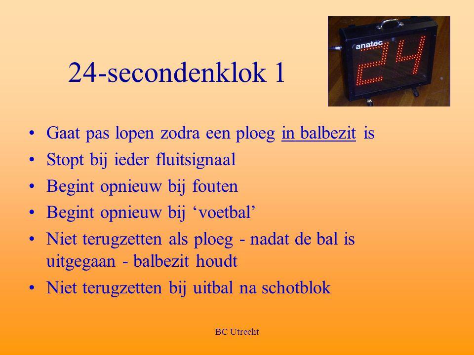 24-secondenklok 1 Gaat pas lopen zodra een ploeg in balbezit is