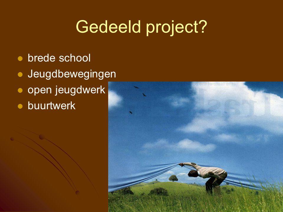 Gedeeld project brede school Jeugdbewegingen open jeugdwerk buurtwerk