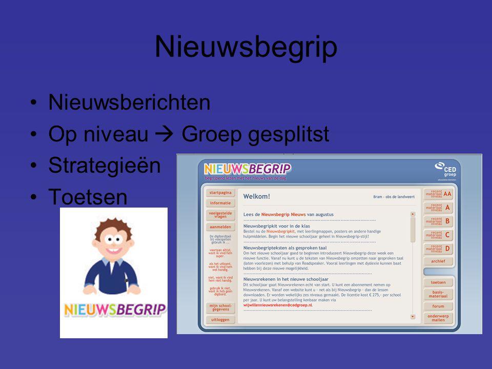 Nieuwsbegrip Nieuwsberichten Op niveau  Groep gesplitst Strategieën