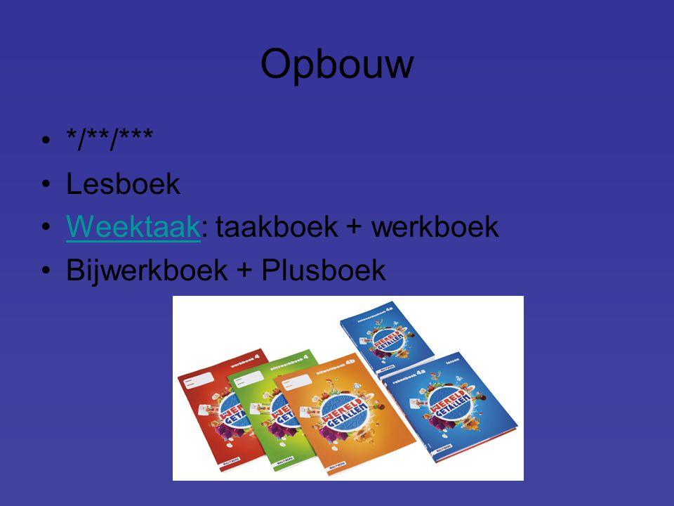 Opbouw */**/*** Lesboek Weektaak: taakboek + werkboek