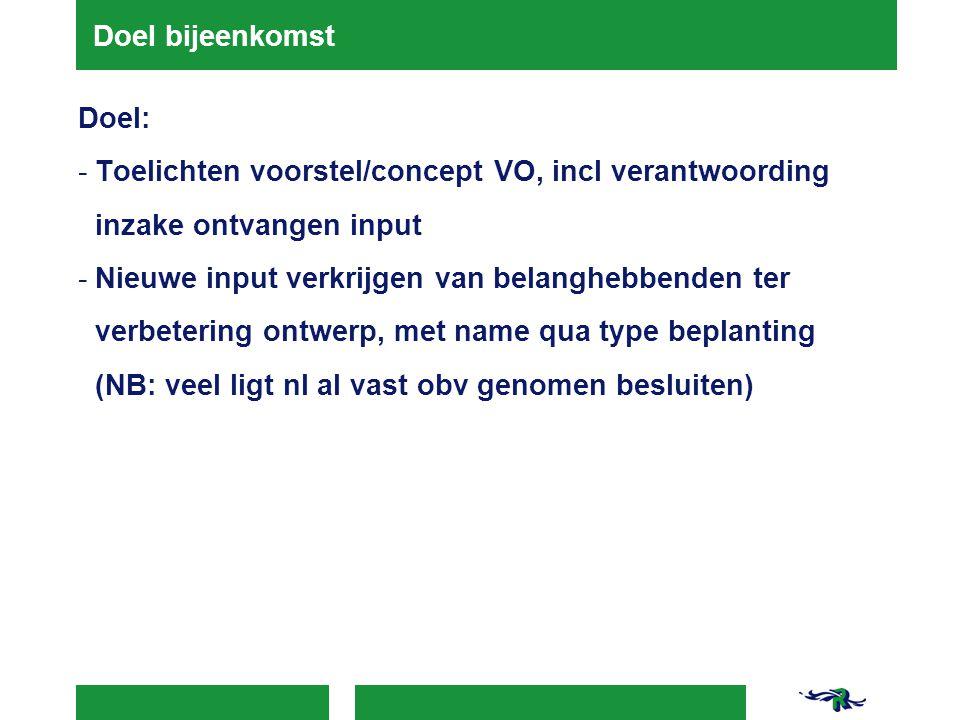 Doel bijeenkomst Doel: Toelichten voorstel/concept VO, incl verantwoording inzake ontvangen input.