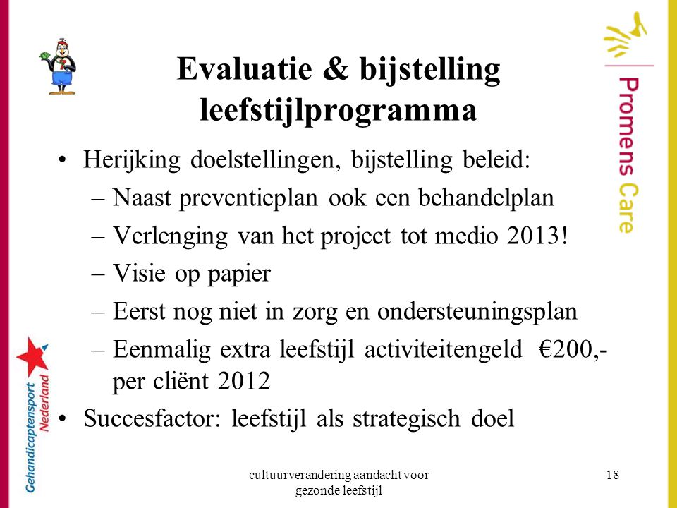 Evaluatie & bijstelling leefstijlprogramma