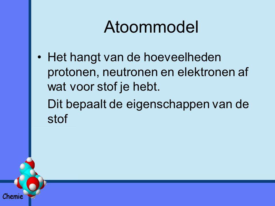 Atoommodel Het hangt van de hoeveelheden protonen, neutronen en elektronen af wat voor stof je hebt.