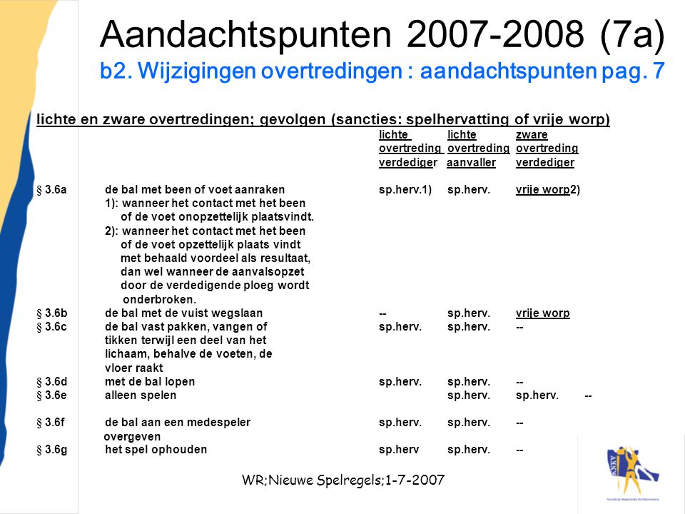 WR;Nieuwe Spelregels;1-7-2007