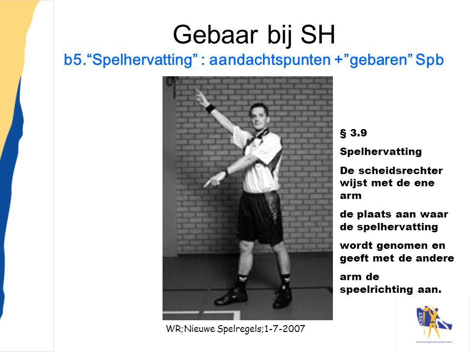 Gebaar bij SH b5. Spelhervatting : aandachtspunten + gebaren Spb