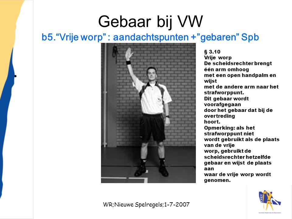 Gebaar bij VW b5. Vrije worp : aandachtspunten + gebaren Spb