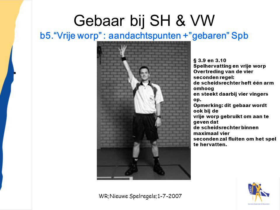 Gebaar bij SH & VW b5. Vrije worp : aandachtspunten + gebaren Spb