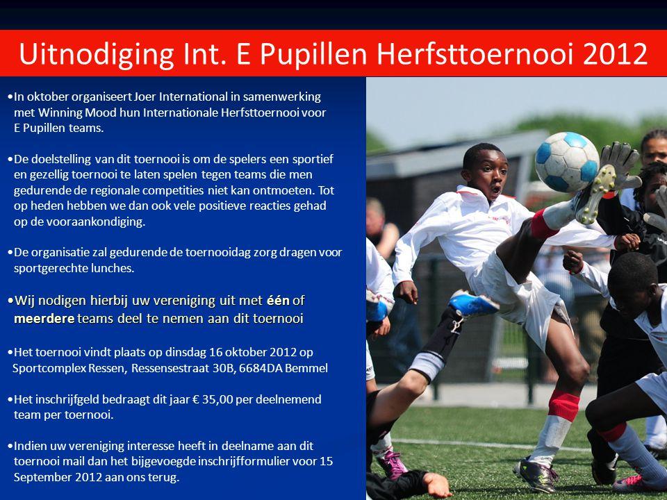 Uitnodiging Int. E Pupillen Herfsttoernooi 2012