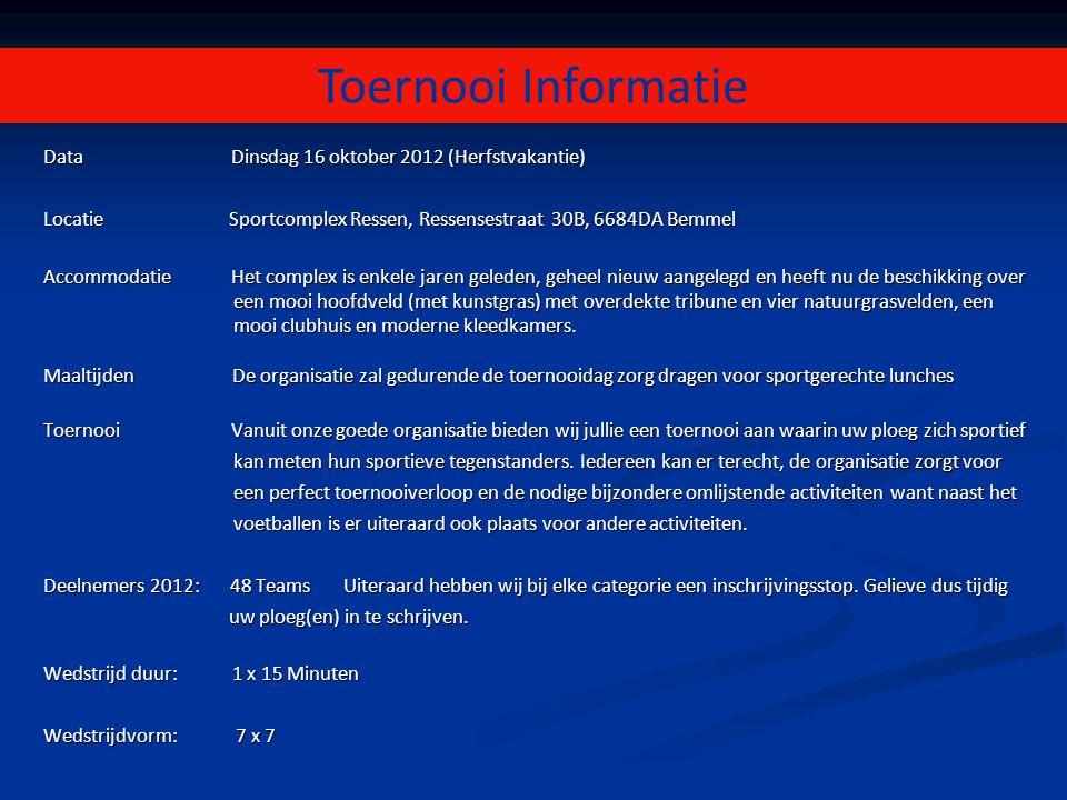 Toernooi Informatie Data Dinsdag 16 oktober 2012 (Herfstvakantie)