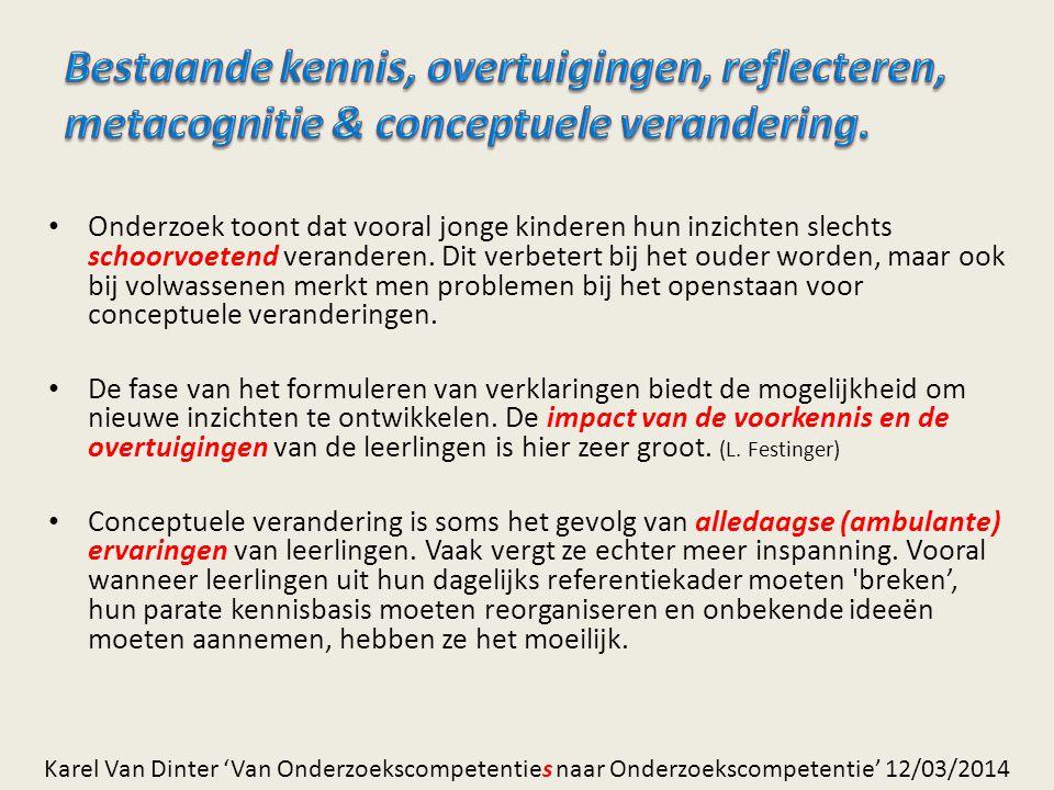 Bestaande kennis, overtuigingen, reflecteren, metacognitie & conceptuele verandering.