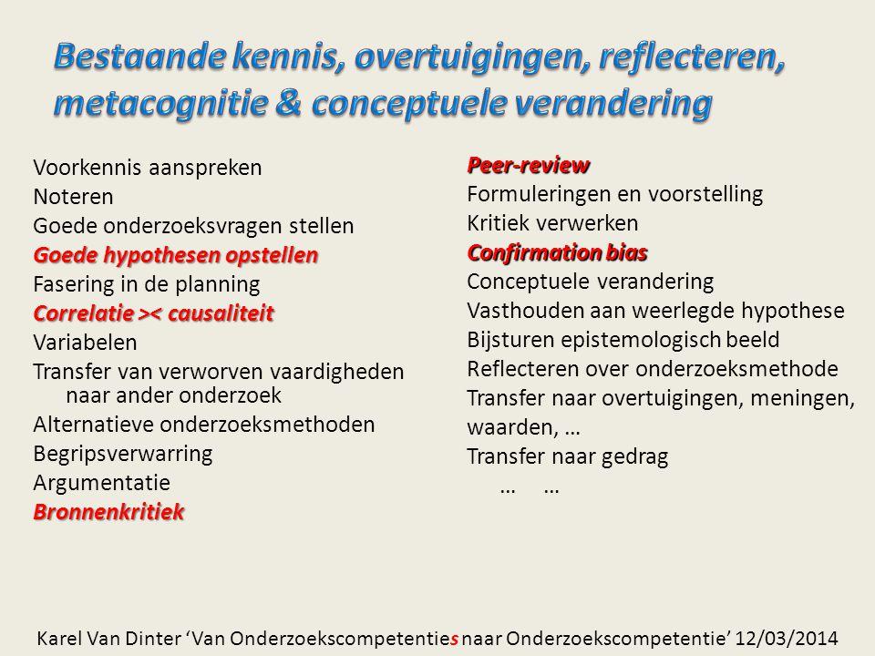 Bestaande kennis, overtuigingen, reflecteren, metacognitie & conceptuele verandering