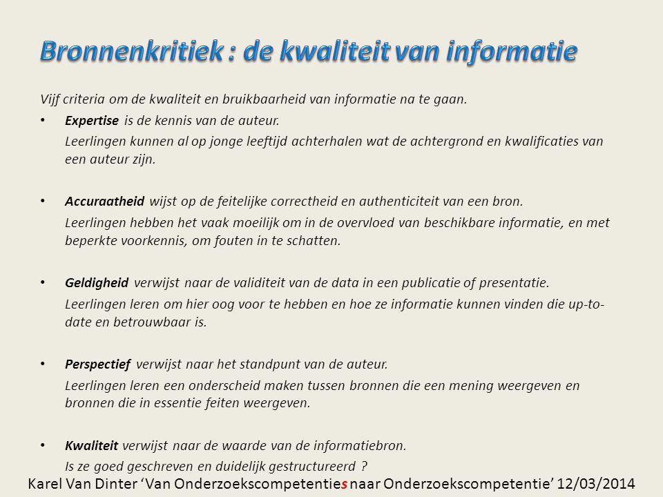 Bronnenkritiek : de kwaliteit van informatie