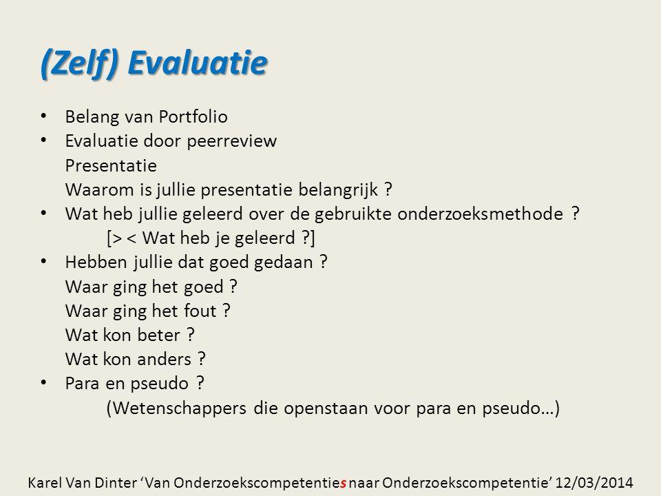(Zelf) Evaluatie Belang van Portfolio Evaluatie door peerreview