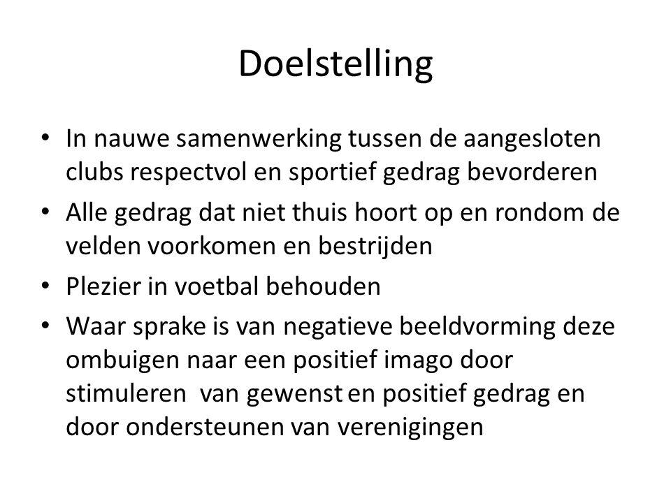 Doelstelling In nauwe samenwerking tussen de aangesloten clubs respectvol en sportief gedrag bevorderen.