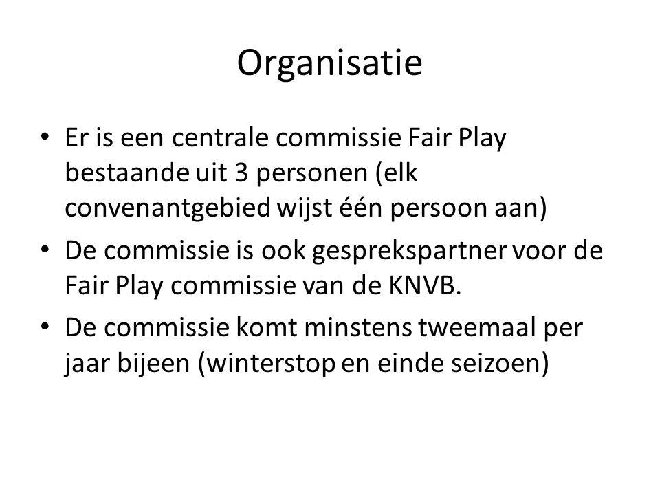 Organisatie Er is een centrale commissie Fair Play bestaande uit 3 personen (elk convenantgebied wijst één persoon aan)