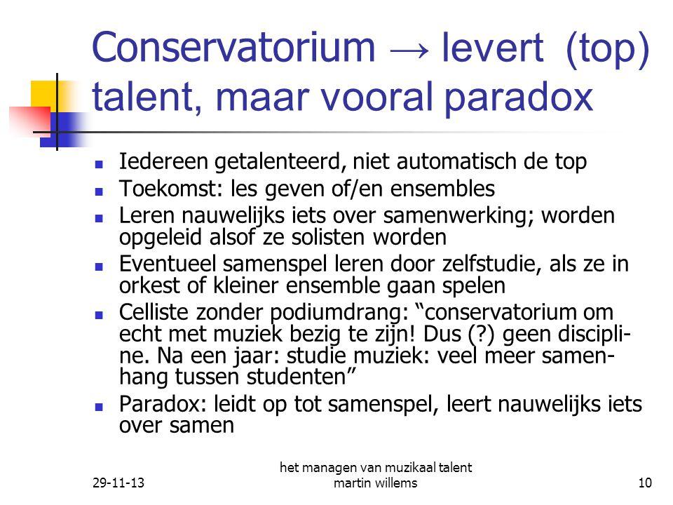 Conservatorium → levert (top) talent, maar vooral paradox