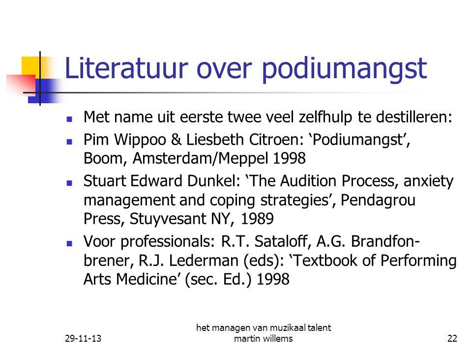 Literatuur over podiumangst