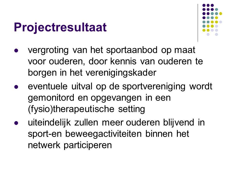 Projectresultaat vergroting van het sportaanbod op maat voor ouderen, door kennis van ouderen te borgen in het verenigingskader.