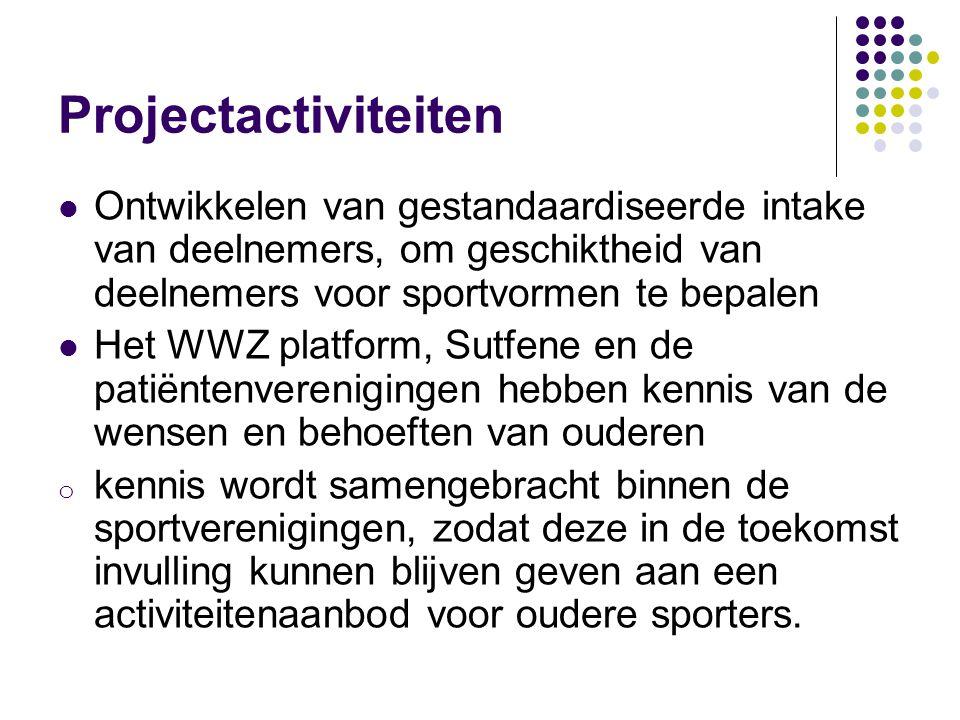 Projectactiviteiten Ontwikkelen van gestandaardiseerde intake van deelnemers, om geschiktheid van deelnemers voor sportvormen te bepalen.