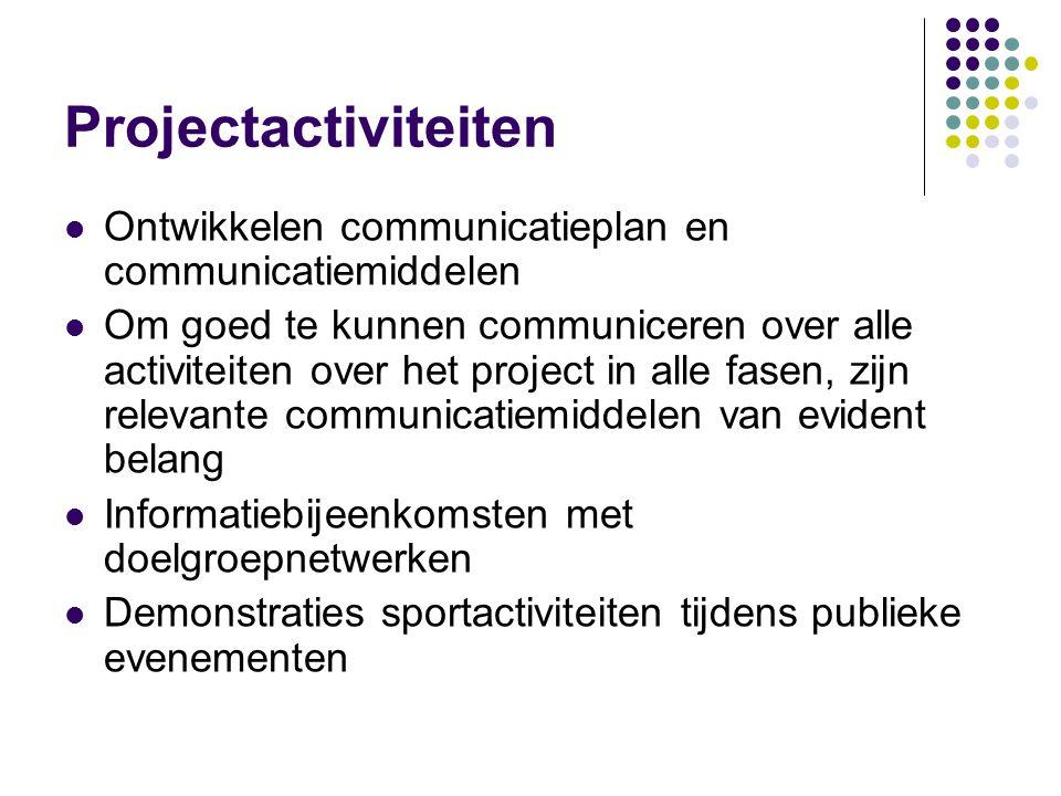 Projectactiviteiten Ontwikkelen communicatieplan en communicatiemiddelen.