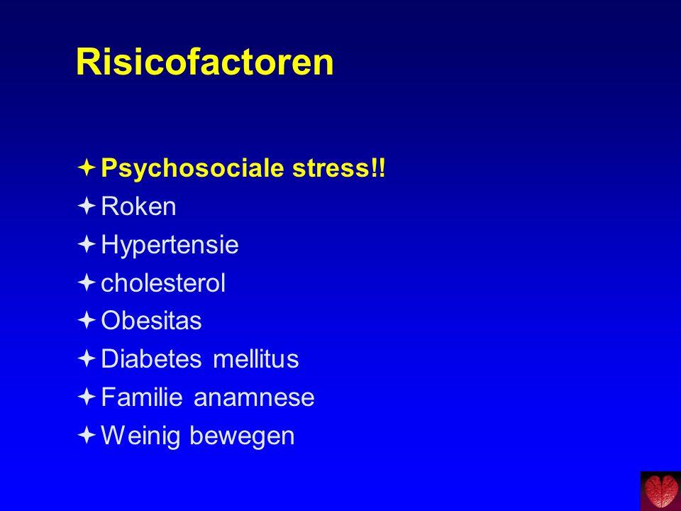 Risicofactoren Psychosociale stress!! Roken Hypertensie cholesterol
