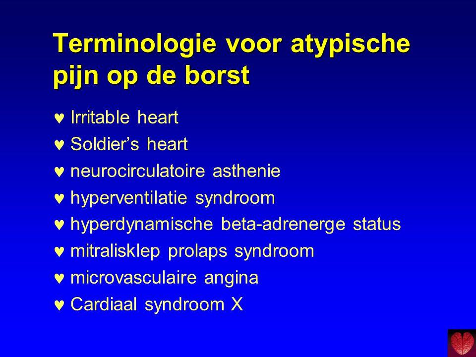 Terminologie voor atypische pijn op de borst