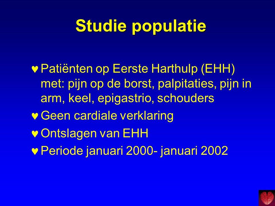 Studie populatie Patiënten op Eerste Harthulp (EHH) met: pijn op de borst, palpitaties, pijn in arm, keel, epigastrio, schouders.