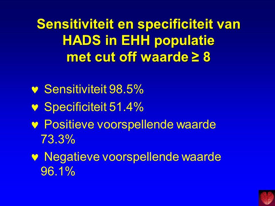Sensitiviteit en specificiteit van HADS in EHH populatie met cut off waarde ≥ 8