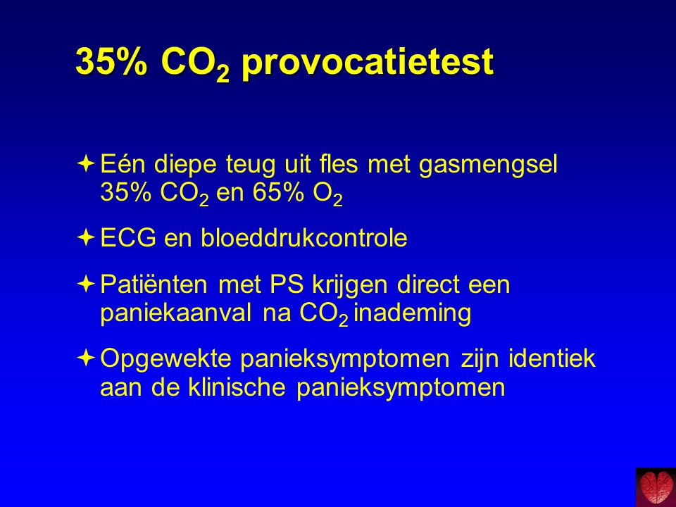35% CO2 provocatietest Eén diepe teug uit fles met gasmengsel 35% CO2 en 65% O2. ECG en bloeddrukcontrole.