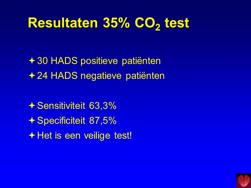 Resultaten 35% CO2 test 30 HADS positieve patiënten