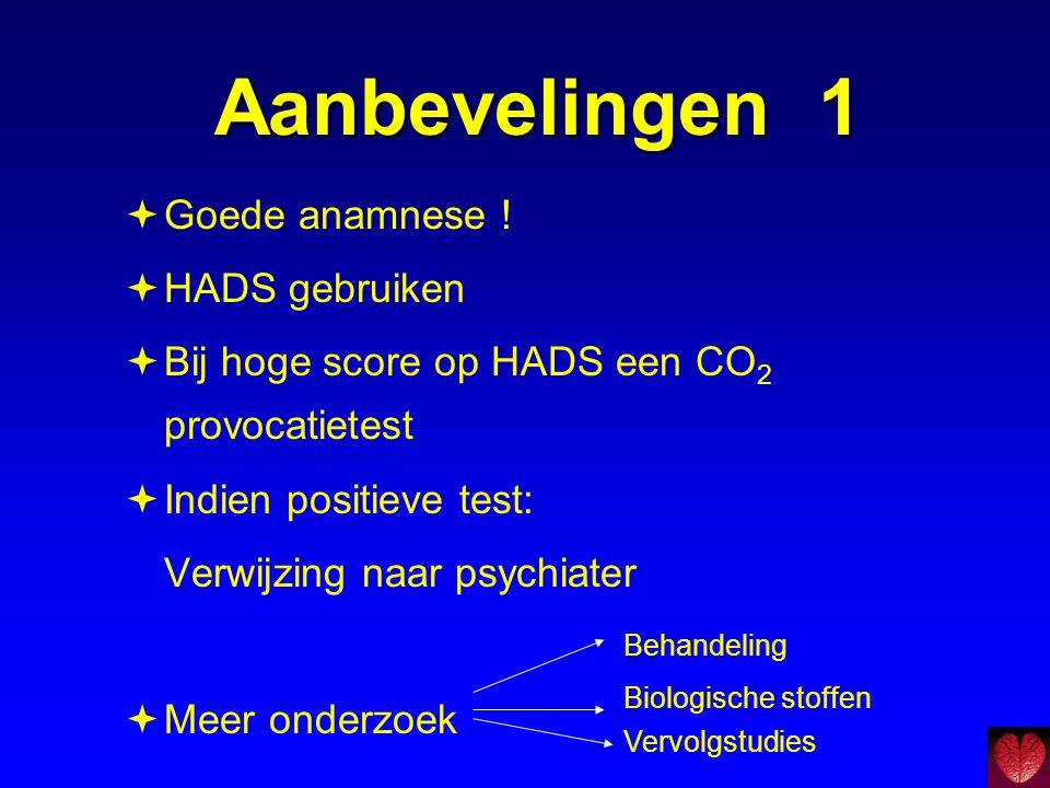 Aanbevelingen 1 Goede anamnese ! HADS gebruiken