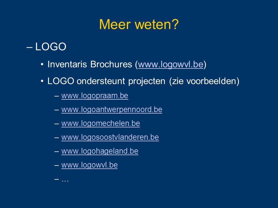Meer weten LOGO Inventaris Brochures (www.logowvl.be)