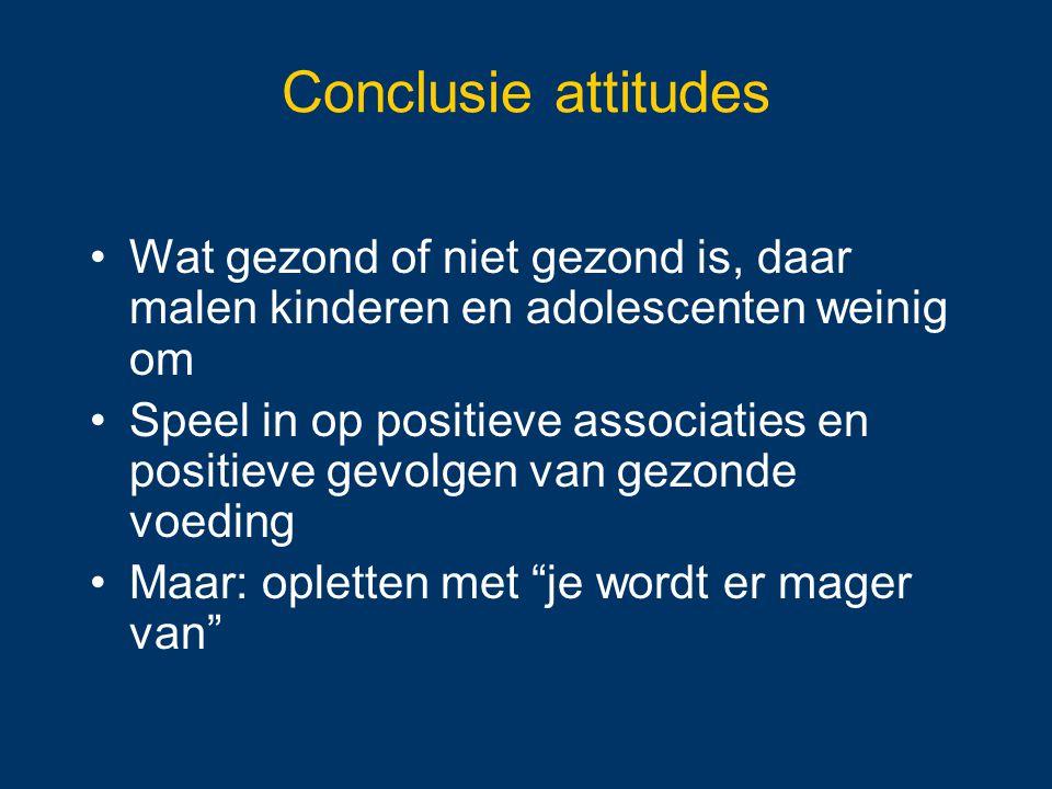 Conclusie attitudes Wat gezond of niet gezond is, daar malen kinderen en adolescenten weinig om.
