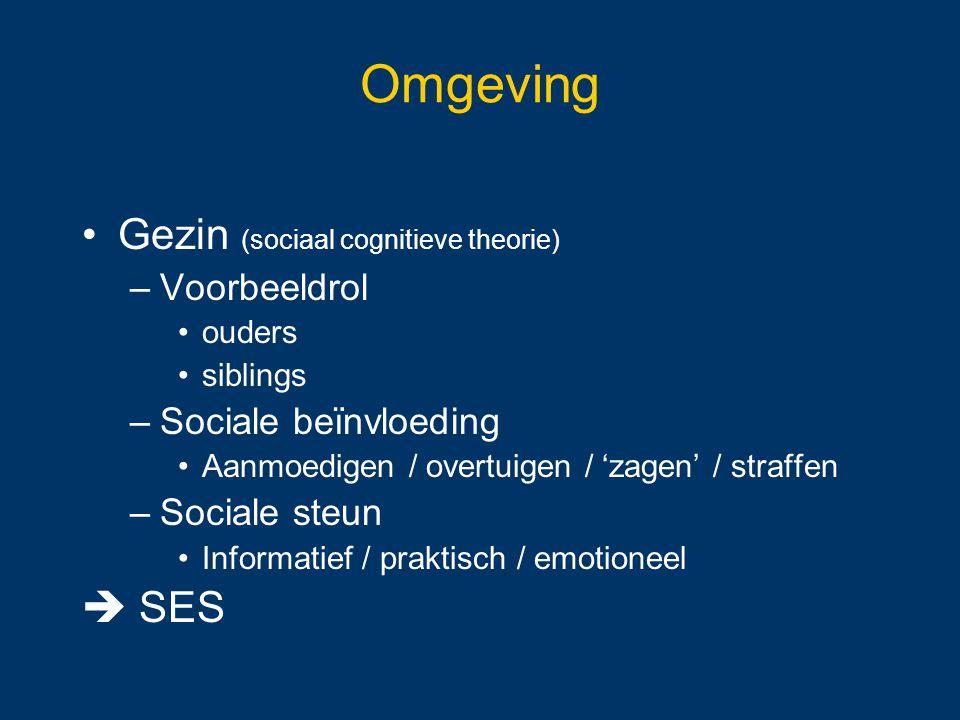 Omgeving Gezin (sociaal cognitieve theorie)  SES Voorbeeldrol